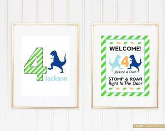 Dinosaur Welcome Signs, DinoMite Birthday Party, Dinosaur Door Sign, Stomp & Roar On In, Dino Party Decor, Blue and Green Party Decor, #40