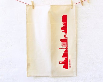 Dish Towel red YOKOHAMA Skyline green gift Organic Cotton Tea Towel screenprinted by hand in red- Kitchen Decor - by 44spaces