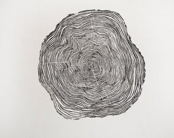 Wood Grain - Original Hand-pulled Linocut Print
