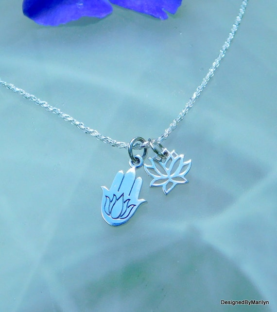 Sterling silver Hamsa hand necklace, amulet of protection, healing hand, lotus flower yoga jewelry, meditation jewelry