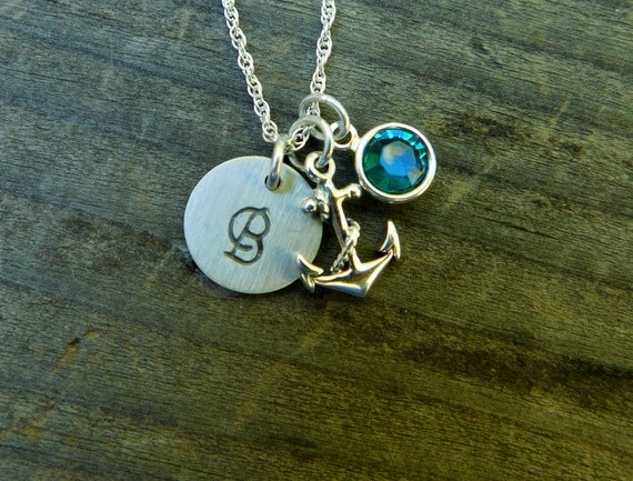 Sterling silver Anchor necklace, Sailors pendant, navy necklace, necklace of faith