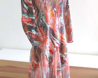 1960's Don Luis De Espana Dress in Coral Floral Print and Sheer Panels Medium M
