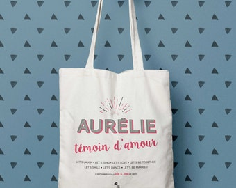 "Bag ""Witness of love"", Tote bag personalized gift witness tote bag, bachelorette party, bag, bridesmaid, wedding, groom, wedding bag, Bridal"
