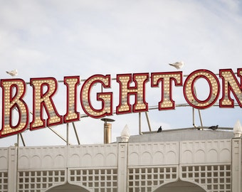 Brighton Print - Seaside Photography - Illuminated Brighton Sign Photograph - English Seaside Decor