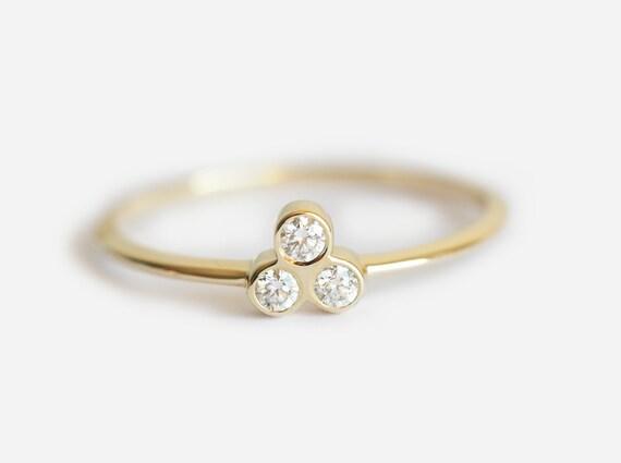 Simple Gold Diamond Ring Three Stone Ring Three Diamond