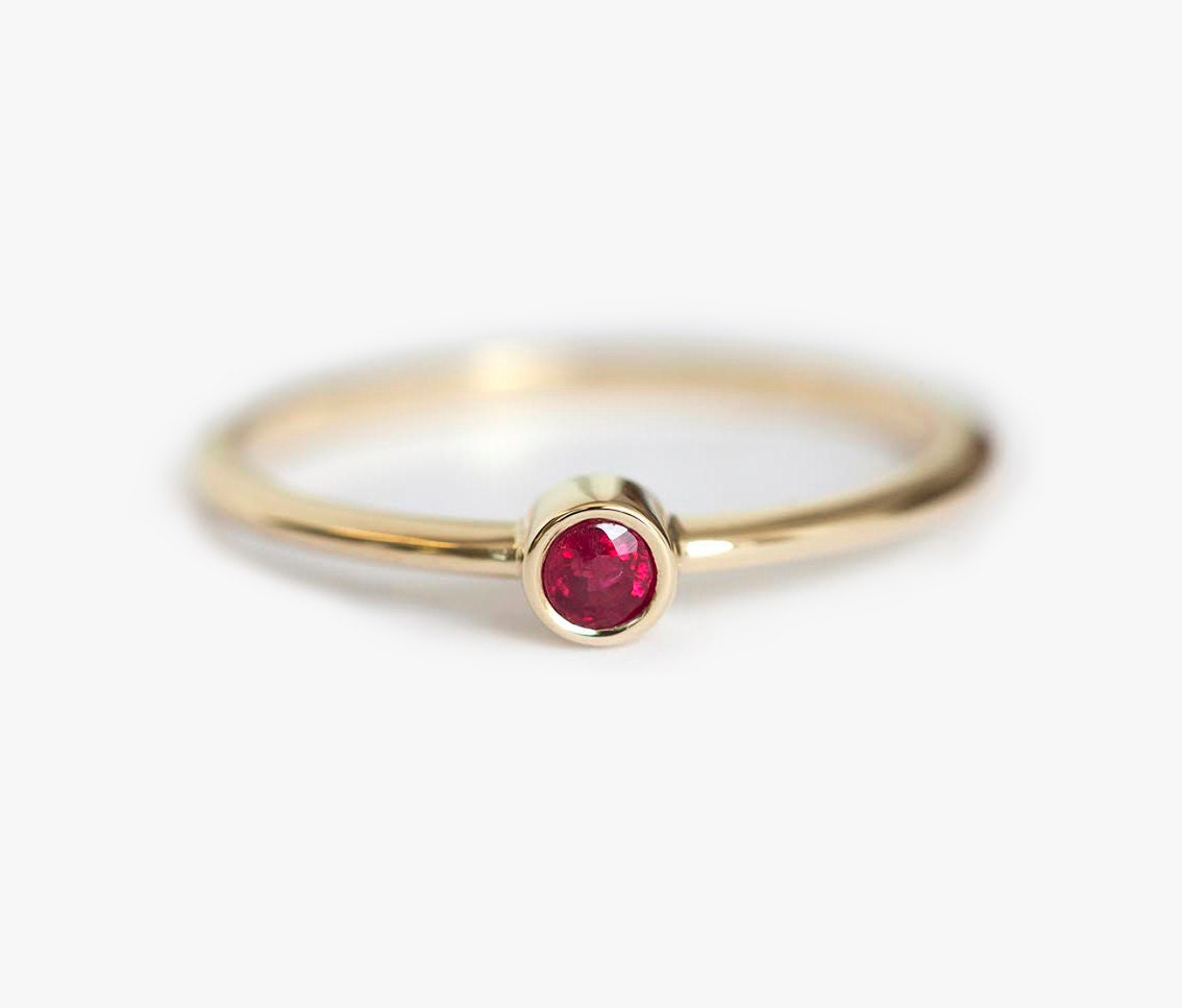 Ruby Ring Solitaire Ruby Ring Simple Enagegement ring Red