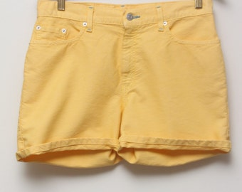 """90's Vintage """"LEVI'S"""" High-Waist Yellow Jean Shorts Sz: 10"""