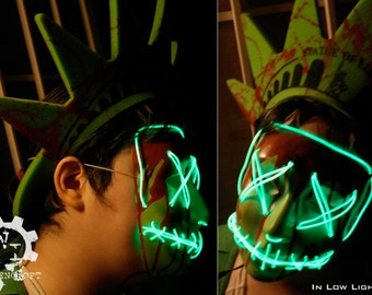 Lady Liberty - Purge Election Year - Inspired Costume Mask Replica, Electronic, Runs on Batteries, Perfectly Creepy For Halloween/Cosplay