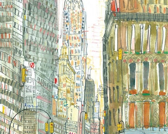 CHRYSLER ART Print New York Illustration, NYC Wall Art 8x10 Print, Skyscraper Manhattan City Building, Watercolor Sketch, New York Painting