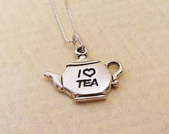Sterling Silver I Love Tea Teapot Necklace