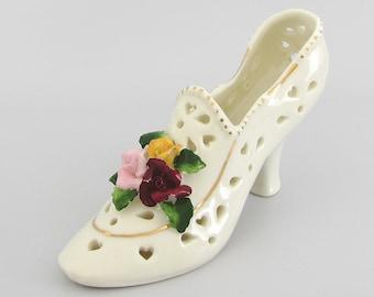 Lady Hearts & Roses -  Vintage Miniature Cream Porcelain High Heel Shoe Figurine