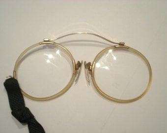 Antique Gold Pince-nez Eyeglasses Eyewear Eye Frames Gold Filled Spectacles Marked John Lennon Bakelite Celluloid Rim Unique