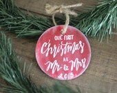 Our First Christmas as Mr and Mrs Ornament, Christmas Tree Ornament, Bride and Groom Christmas Gift, Rustic Christmas Decor
