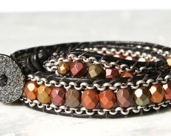 Leather Wrap Bracelet, Colored Bead and Chain Wrap Bracelet, Double Wrap Bracelet, Fall Bracelet, Leather Bracelet, Beaded Bracelet