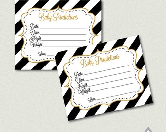 Baby Prediction Cards, Printable Baby Shower Game, Black and Gold Baby Shower, Baby Shower Games, Predictions for Baby, weight, height, size