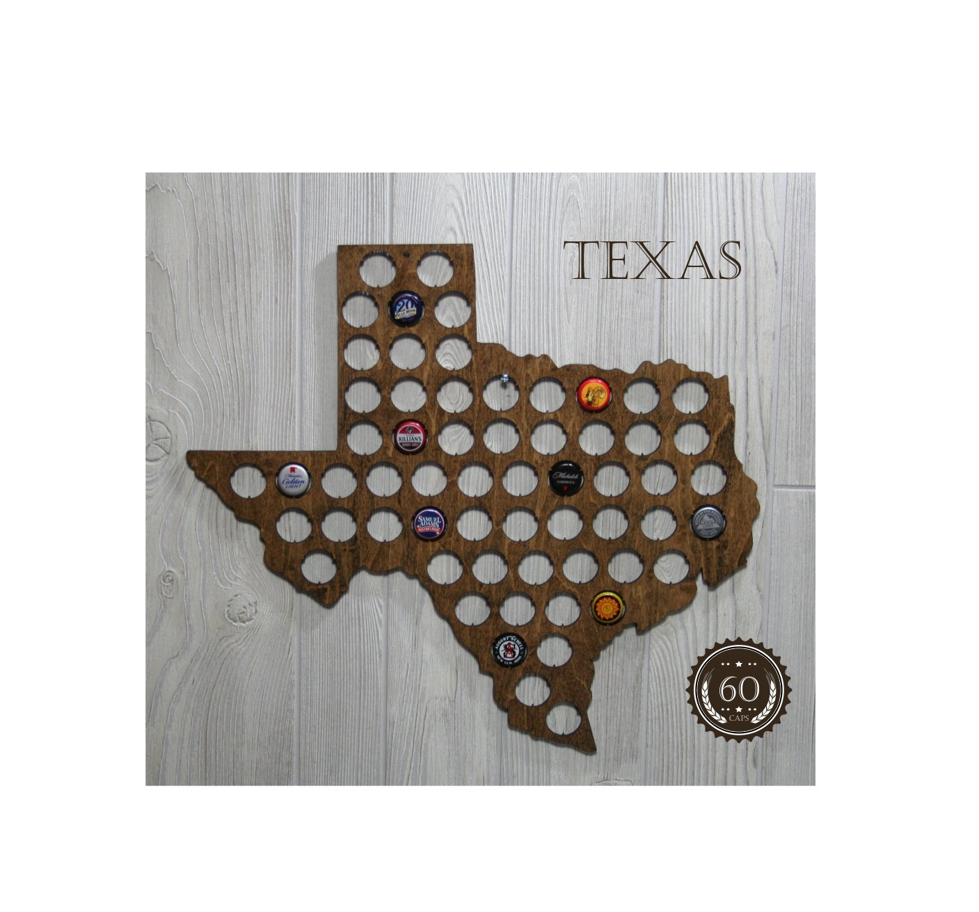 TEXAS Beer Bottle Cap Map Wall Decor 18 X 20 By