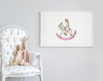 Large children's Art, UNFRAMED Big print for Kids, Extra large picture, Princess wall Art, Pink Rocking Horse, Nursery Illustration