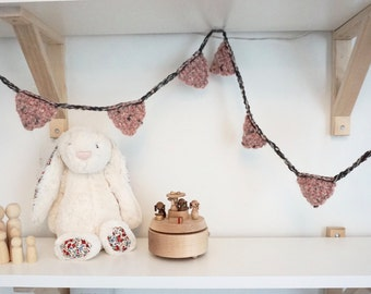 Crochet Bunting Garland Banner in Grey and Pink