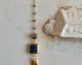 RESERVED for Katherine. Ocean Simplicity. Lapis and 24k gold bezel with 3 vermeil pennants. Hung from iolite and labradorite chain. Ooak, ha