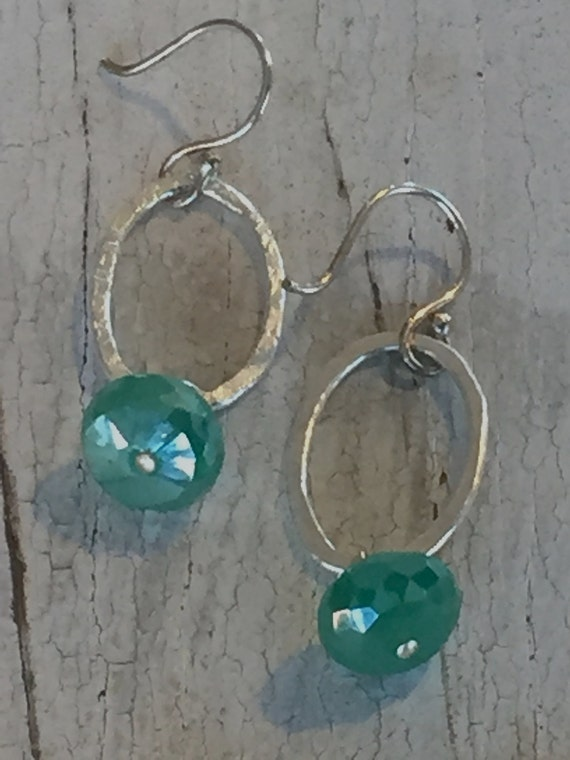 Green onyx on fine silver hand-forged oval rings.  Handmade, one-of-a-kind earrings by ladeDAH! Jewelry.