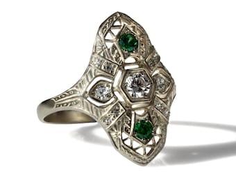 Antique Diamond Engagement Ring 14k yellow gold Edwardian Filigree emeralds and diamonds ring, Diamond green emerald antique engagement ring