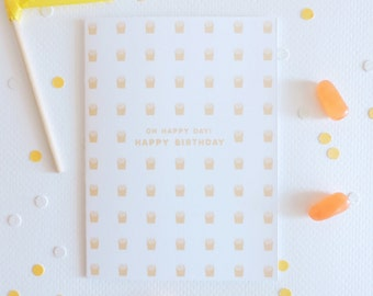 French Fry Icon Birthday Greeting Card - Blank Inside - A2