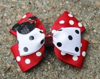 Disney Minnie Mouse Birthday Party Double Stacked Red on White Polka Dot Pinwheel Boutique Hair Bow