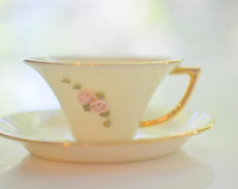 Miniature Tea Cup and Saucer Set Applied Pink Roses Royal Crest China