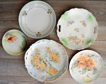 Mismatched Plates Instant Plate Collection, Plate Wall, Peach and Pale Green