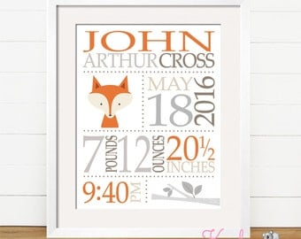 Personalized Baby Birth Announcement Art Print, Personalized Baby Gift, Baby Stats, Baby Fox Nursery, Woodland Creatures