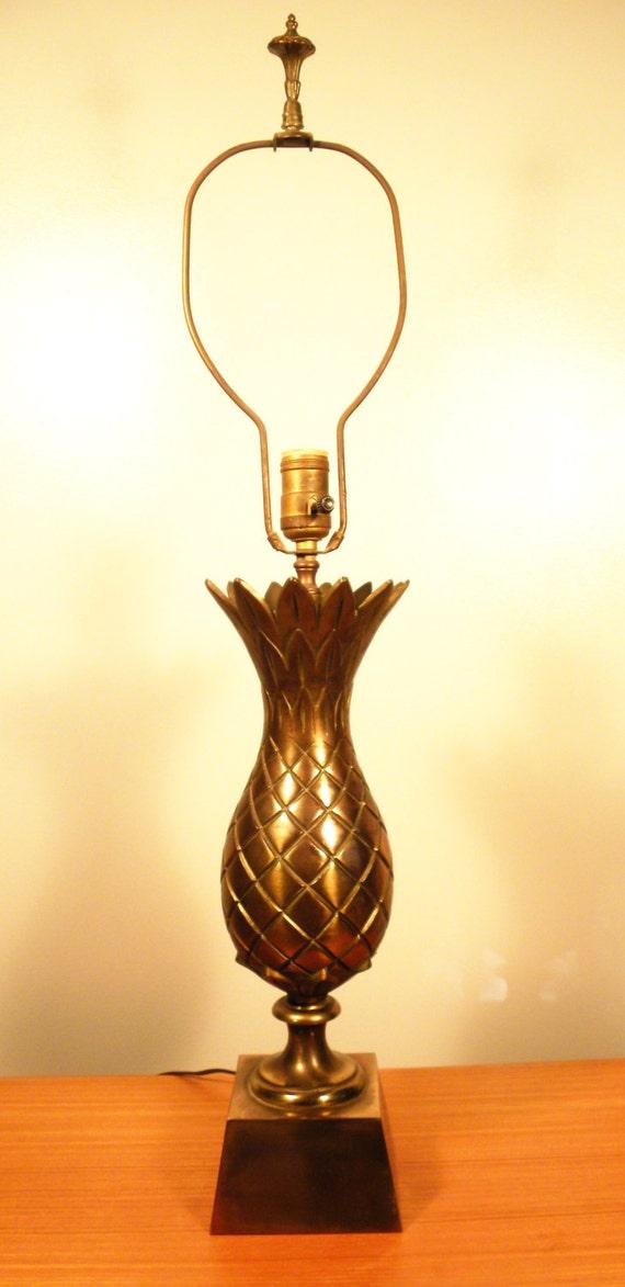 vintage mid century brass pineapple table lamp. Black Bedroom Furniture Sets. Home Design Ideas
