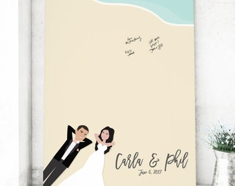 Beach Wedding Guest Book Alternative, Canvas Guest book for Destination Beach Wedding, Fun Guest Book Idea - Beach Guest Book