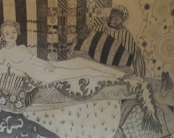1970's Pschyedelic Interpretation of Odalisque painting by Manet