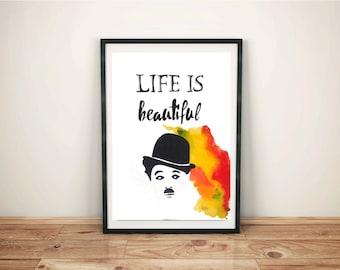 Charlie Chaplin - Original Watercolor - Unique