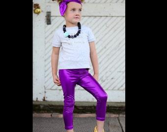Dreaming Kids Purple Metallic Leggings