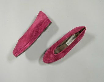 1980s suede fuchsia wedges - size 6.5