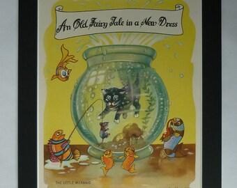 1950s Antique Fishing Print, Available Framed, Cat Art, Fish Decor, Children's Picture, Little Mermaid Wall Art, Fishbowl Art, Kitten Gift