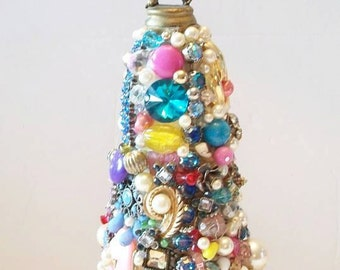 Jeweled Christmas Tree Upcycled Vintage Jewelry