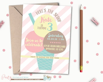 Ice Cream Invitation, Ice Cream Birthday Invitation, Ice Cream Party Invitation, Neapolitan Ice Cream Birthday Invitation, Ice Cream, Summer