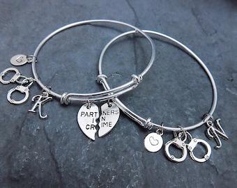 Set of 2 - Partners in Crime Charm Bracelet - Expandable Bangle - Friendship Bracelet - Best Friend Gift - Handcuff Bracelet - Jewelry