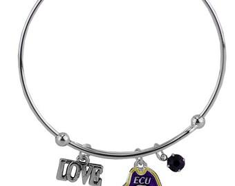 East Carolina University (ECU) Silver Bangle Bracelet made of Beads & Charms