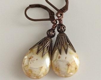 Off White Glass Earrings  Bohemian Earrings  Czech Glass Teardrop Earrings  Boho  Copper Leverbacks  Gypsy Dangles