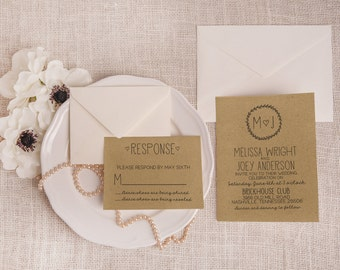 Kraft Wedding Invitation Suite DEPOSIT - Boho Chic, Personalized, Printable, Custom, DIY, Rustic, Invite Kit, Handmade (Wedding Design #22)
