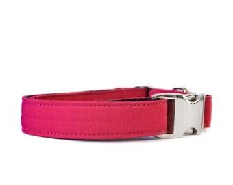 Raspberry Linen Collar - Adjustable Hot Pink Wedding or Everyday Wear Metal Buckle Dog and Cat Collar