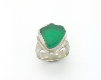 Sea Glass ring in sterling silver, beach glass ring