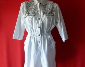 Sz L XL Glitter Trimmed Romper Jumpsuit - Isis - White Shorts - Playsuit - Made in USA - Size 14 16