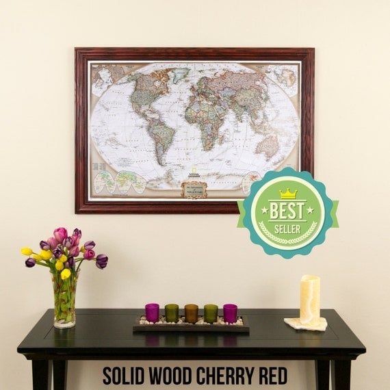 Personalized Executive World Travel Map with Pins and Frame  - Push Pin Travel Map
