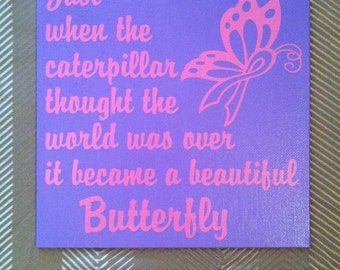 Butterfly Ribbon - Breast Cancer Awareness 8x8 Canvas