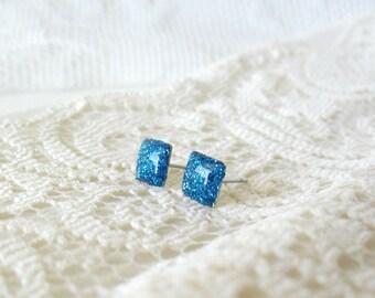 Sky blue glitter square post earrings- Delicate std earrings- Everyday jewelry- Summer posts