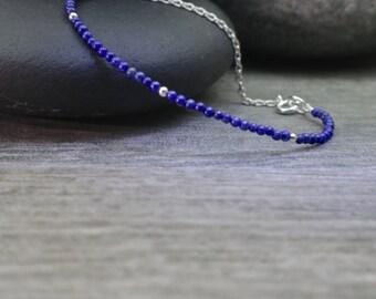 Lapis Bracelet, Navy Blue Bangle, Simple Jewelry, Artisan Handmade, Minimalist Style, Feminine Design, Modern Zen, Blue Bracelet